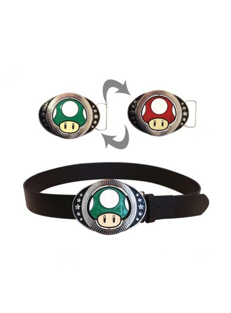 Cinturón de champiñón reversible Mario Bros para adulto