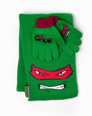 Raphael Ninja Turtles scarf and gloves kit