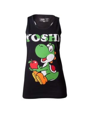 T-shirt de Yoshi preta para mulher