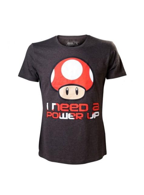 Camiseta de champiñón rojo Mario Bros negra