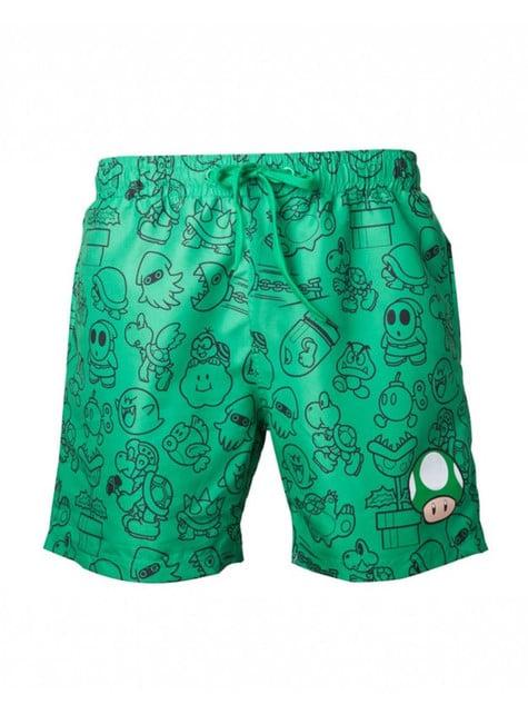 Calções de banho de cogumelo verde Mario Bros para homem
