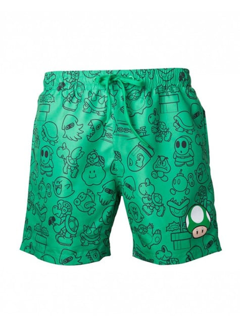 Green Mushroom Super Mario Bros swimming trunks for men