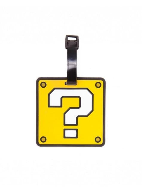 Etiqueta de bagagem de ponto de interrogação Mario Bros