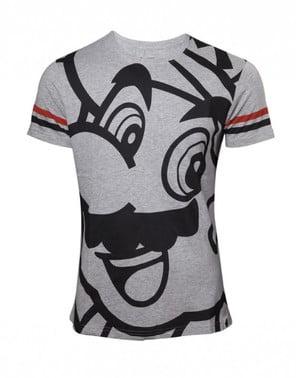 Tricou Mario Bros gri și negru