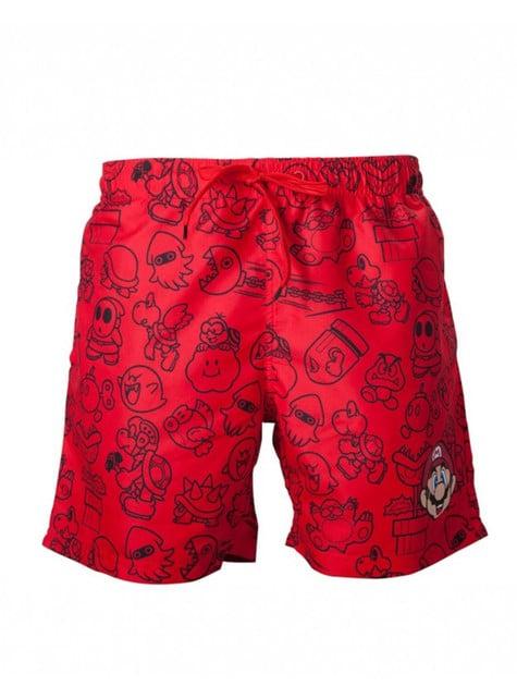 Calções de banho de Mario Bros vermelhos para adulto