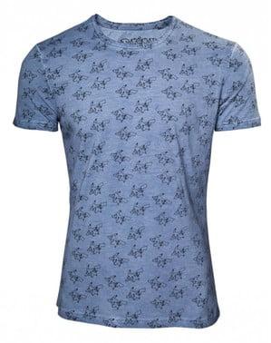 Blaues Muster-T-Shirt Pikachu
