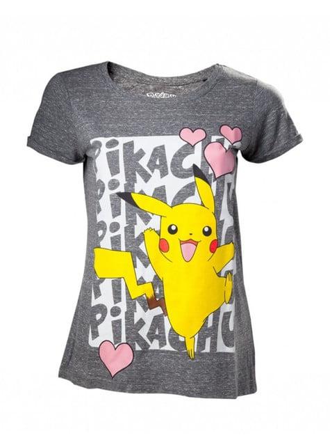 Camiseta de Pikachu gris para mujer