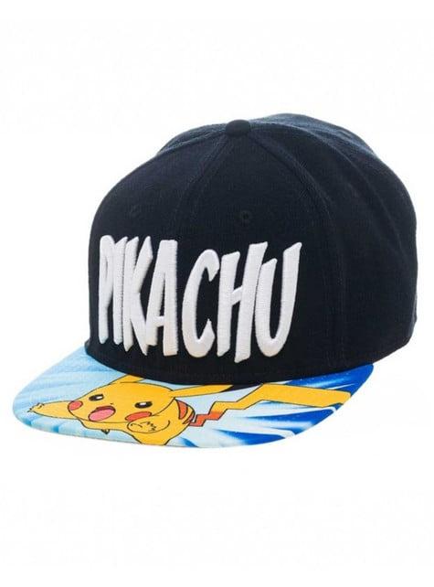 Gorra de Pikachu negra con visera estampada