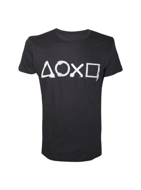Black PlayStation button t-shirt