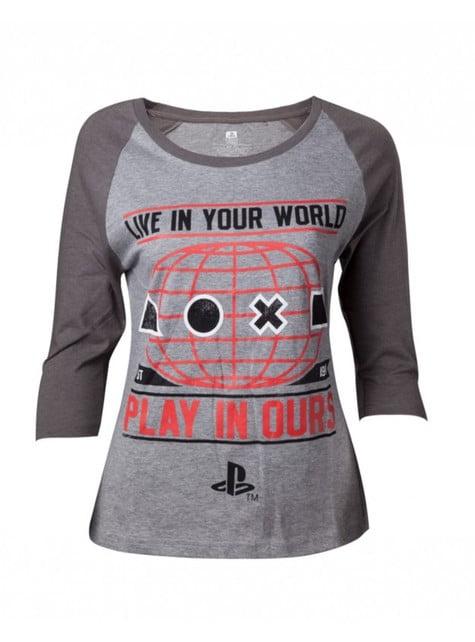 Graues T-Shirt PlayStation für Frauen