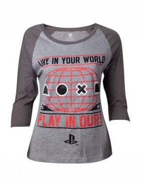 Camiseta de PlayStation gris para mujer