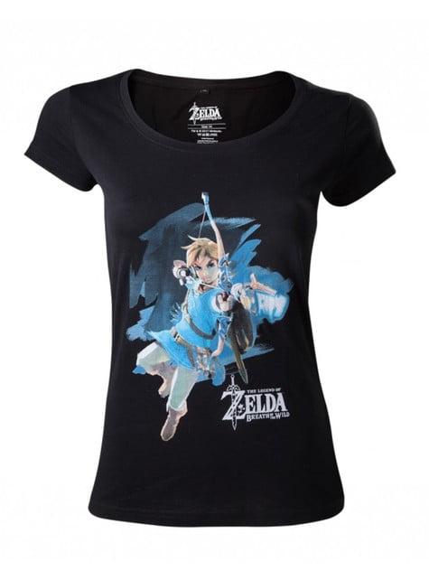 T-shirt de Zelda Breath of the Wild preta para mulher