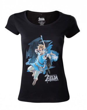 Camiseta de Zelda Breath of the Wild negra para mujer