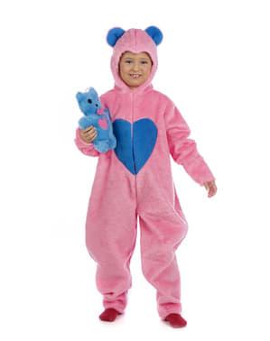 Fato de urso carinhoso cor-de-rosa para menina