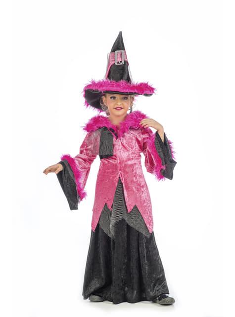 Disfraz de bruja dacha rosa para niña