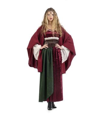 Umhang mittelalterliche Bäuerin, rot für Frauen