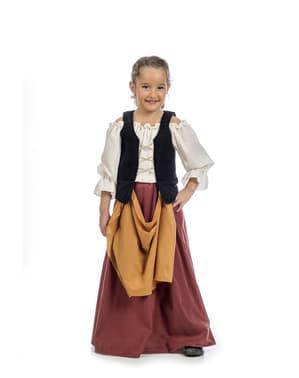 Mittelalterliche Bauersfrau Kostüm für Mädchen