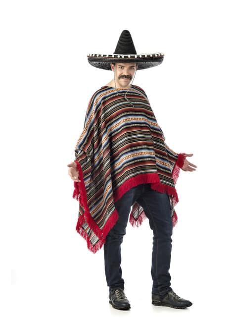 Disfraz de poncho mexicano para adulto talla grande