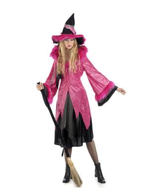 Fuchsia roze heksen kostuum