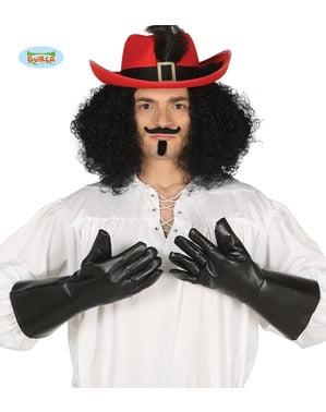 Mănuși imitație de piele negre pentru adult