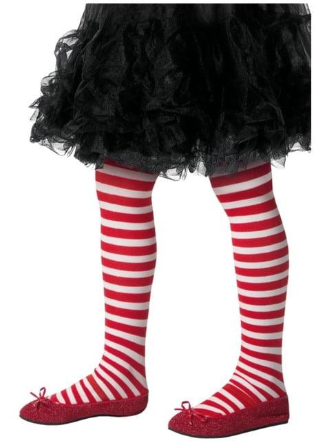 Pantys de elfo navideño rojos y blancos infantiles