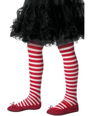 Rød og hvit Julealv tights til barn