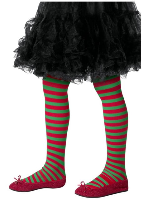 Red and green Christmas elf tights for kids