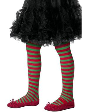 Punavihreät Joulutontun sukkahousut lapsille