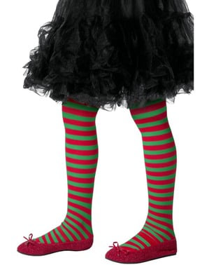 Weihnachtself Strumpfhose rot-grün für Kinder