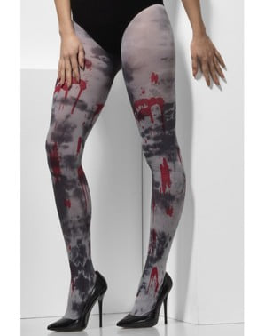 Blutige Zombie Strumpfhose für Damen