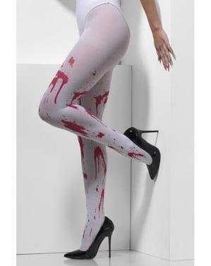 Blodplettede hvide strømpebukser til kvinder