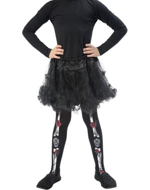 Day of the Dead Skeleton Tights for Girls