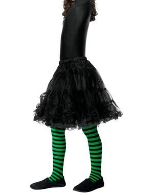 Rajstopy czarno-zielone czarownica dla dziewczynki