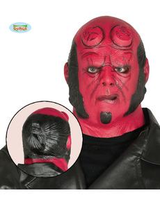 Máscara de Hell rojo de látex para adulto