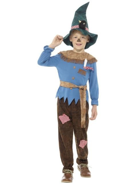 Disfraz de espantapájaros azul para niño
