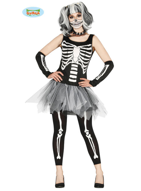 Black and white skeleton tutu costume for women