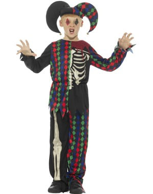 Disfraz de bufón esquelético para niño