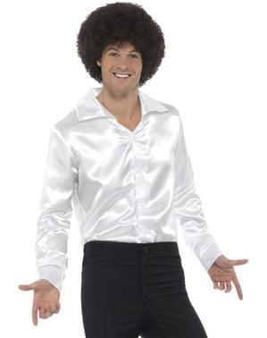 Camisa de cetim branca para homem
