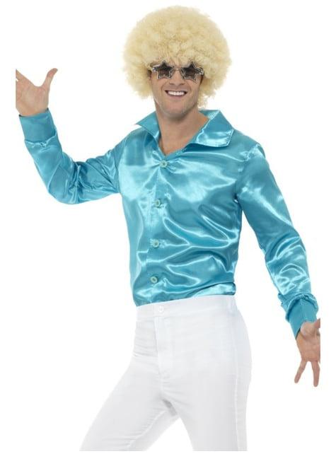 Camisa de raso azul años 70 para hombre