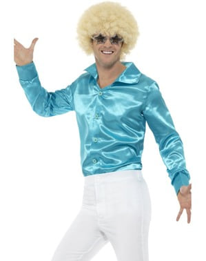 70er Hemd blau