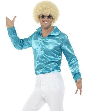 Синя атласна сорочка для чоловіків