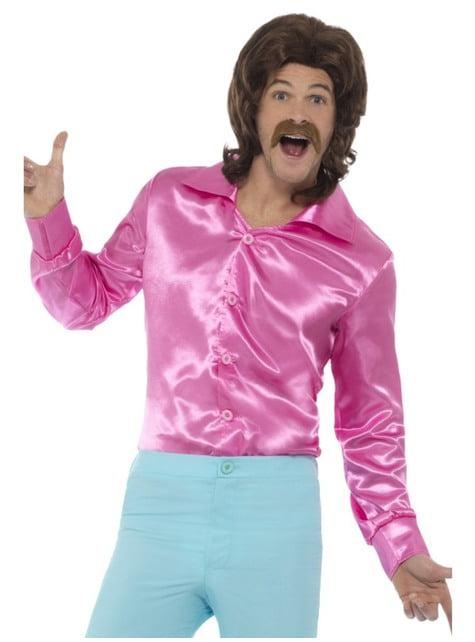 Pink satin-trøje til mænd