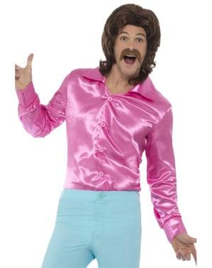 Camisa de raso rosa para hombre