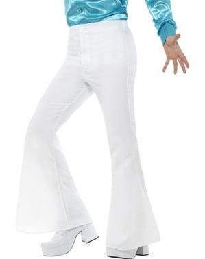 Calças dos anos 70 brancas para homem