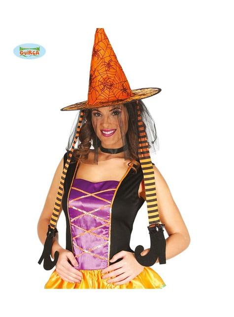 Sombrero de bruja naranja con piernas para mujer