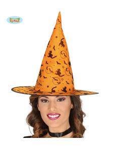 e59996c4e Chapéu de bruxa laranja com gatos e morcegos ...  class