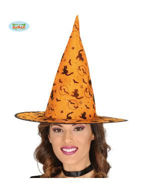 Chapéu de bruxa laranja com gatos e morcegos para mulher