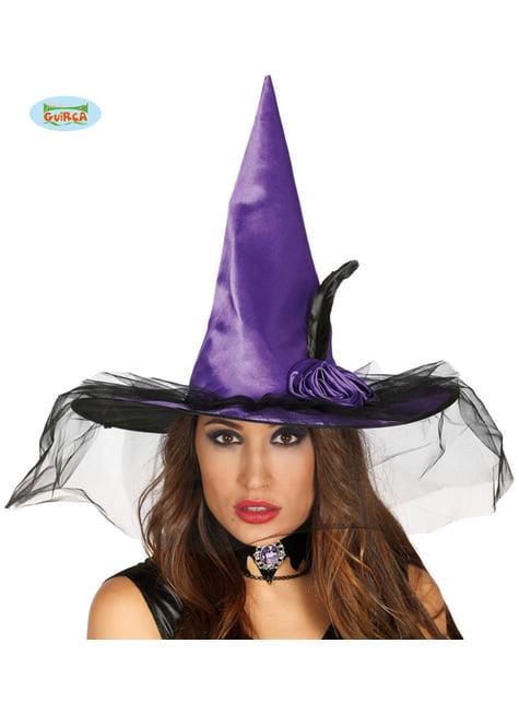 Sombrero de bruja morado con velo negro para mujer
