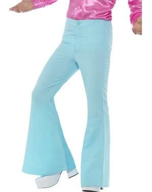 Calças dos anos 70 azul para homem