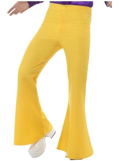 Miesten keltaiset 1970-luvun housut